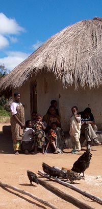 Courtyard and Family in Front of Thatched-roof House, Malawi, Around 2000