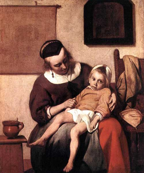 Mother and Sick Child, Holland, 1600s, Gabriel Metsu