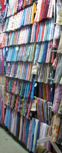 Stalls of women's headscarves for sale in the Roxy/Heliopolis markets of Cairo, 2007