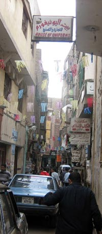 Narrow street in Khan el-Khalili, Cairo's ancient market which dates back to 1382