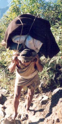 Porter Carrying Load in Himalaya Mountains, Nepal, 1980s