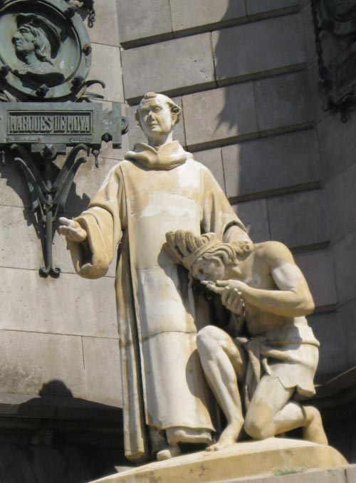 Statue of Spanish Missionary and Native American on Christopher Columbus Monument