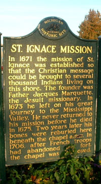 St. Ignace Mission Historic Marker