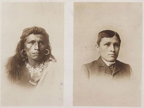 Navajo man transforms his look at the Carlisle Indian Industrial School, 1882